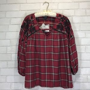 NWT Angie Embroidered Plaid Flannel Peasant Top